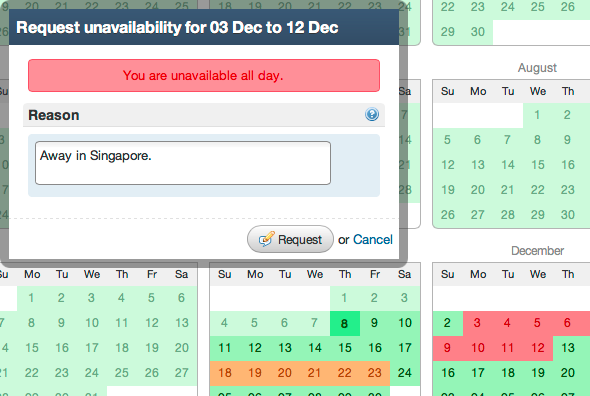 Making Unavailability Requests